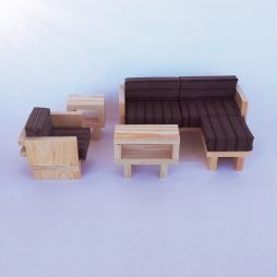 Modern Wooden Living Room dollhouse scale 1:6 (size barbie)