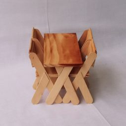 Wooden table with 4 chairs scale 1:6 (size barbie)