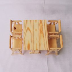 Wooden Traditional table with 4 chairs scale 1:6 (size barbie)